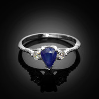 White Gold Rope Band Blue Sapphire White Topaz Stackable Promise Ring