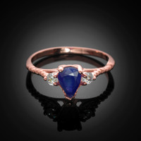Rose Gold Rope Band Blue Sapphire White Topaz Stackable Promise Ring