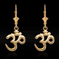 Gold Om Earrings
