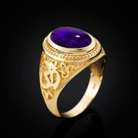 Gold Om (aum) ring with Amethyst birthstone