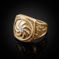 Men's Gold Armenian Eternity Diamond Ring (shiny)