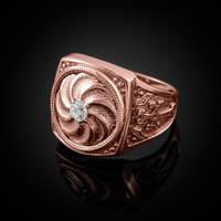 Rose Gold Armenian Eternity Shield Mens Khachkar Cross Diamond Ring