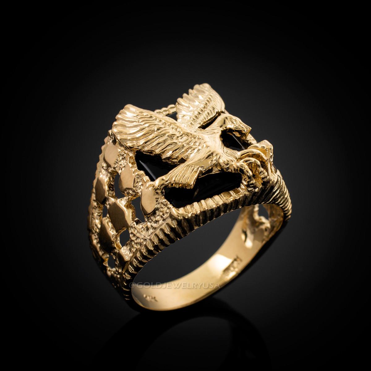 8ff54492acaea Gold American Eagle Black Onyx Mens Open Nugget Ring