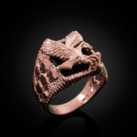 Rose Gold American Eagle Black Onyx Mens Open Nugget Ring