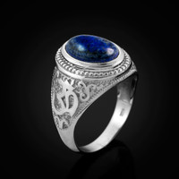 White Gold Om (Aum) Mantra Oval Lapis Lazuli Yoga Ring