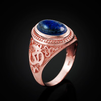 Rose Gold Om (Aum) Mantra Oval Lapis Lazuli Yoga Ring