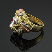 Tri-Tone Gold Lion Head Men's CZ Ring