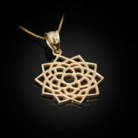 Gold Sahasrara Lotus Unity Chakra Open Yoga Pendant Necklace