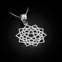White Gold Sahasrara Lotus Unity Chakra Open Yoga Pendant Necklace