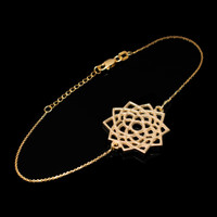 14K Yellow Gold Sahasrara Lotus Unity Chakra Open Yoga Bracelet