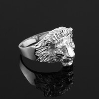 White Gold Lion Head Ring