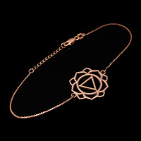 14K Rose Gold Manipura (Confidence) Chakra Womens Yoga Bracelet