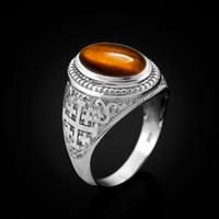 White Gold Jerusalem Cross Tiger Eye Gemstone Statement Ring