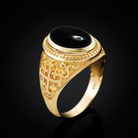 Yellow Gold Jerusalem Cross Black Onyx Gemstone Statement Ring