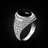 White Gold Jerusalem Cross Black Onyx Gemstone Statement Ring
