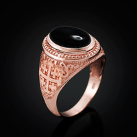 Rose Gold Jerusalem Cross Black Onyx Gemstone Statement Ring