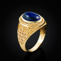 Yellow Gold Jerusalem Cross Lapis Lazuli Gemstone Statement Ring
