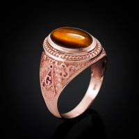 Rose Gold Masonic Tiger Eye Gemstone Statement Ring