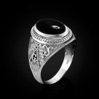 White Gold Masonic Onyx Gemstone Statement Ring