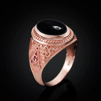 Rose Gold Masonic Onyx Gemstone Statement Ring