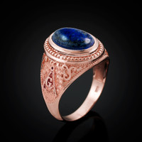 Rose Gold Masonic Lapis Lazuli Gemstone Statement Ring