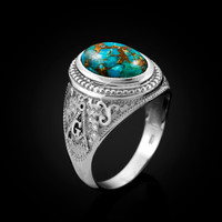 White Gold Masonic Blue Copper Turquoise Statement Ring