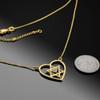 14K Gold Star of David Diamond Pave Heart Necklace