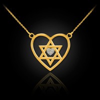 14K Gold Star of David Diamond Pave Heart Necklace