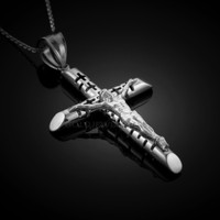 White Gold Crucifix Tube Cross Pendant Necklace