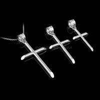 Polished White Gold Plain Tube Cross Charm Necklace (S/M/L)