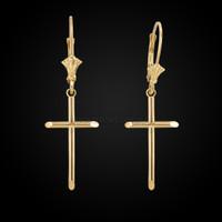 14k solid tube cross religious earrings