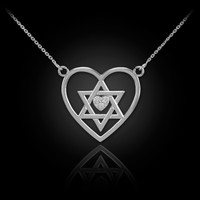 14K White Gold Star of David Diamond Pave Heart Necklace