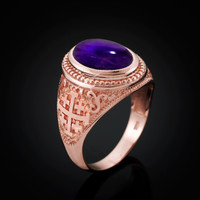 Rose Gold Jerusalem Cross Purple Amethyst Cabochon Statement Ring