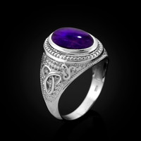 White Gold Celtic Knot Band Purple Amethyst Cabochon Statement Ring