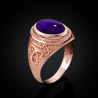 Rose Gold Celtic Knot Band Purple Amethyst Cabochon Statement Ring