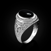 White Gold Celtic Knot Black Onyx Statement Ring