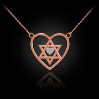 14K Rose Gold Star of David Diamond Pave Heart Necklace