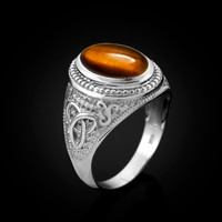 White Gold Celtic Knot Tiger Eye Gemstone Statement Ring