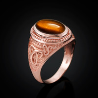 Rose Gold Celtic Knot Tiger Eye Gemstone Statement Ring