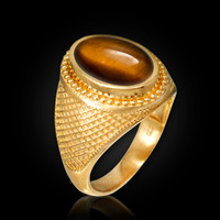 Yellow Gold Textured Band Tiger Eye Cabochon Statement Ring