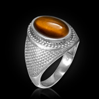 White Gold Textured Band Tiger Eye Cabochon Statement Ring
