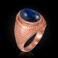 Rose Gold Textured Band Lapis Lazuli Statement Ring