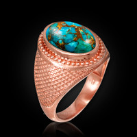 Rose Gold Blue Copper Turquoise Statement Ring