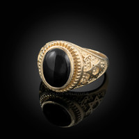 Gold Star of David Black Onyx Jewish Statement Ring