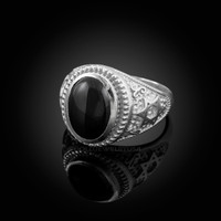 White Gold Star of David Black Onyx Jewish Statement Ring