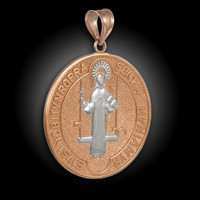 Two-Tone Rose Gold St. Benedict Medallion Pendant