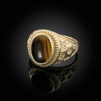 Gold Star of David Tiger Eye Gemstone Jewish Statement Ring