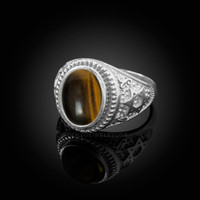 White Gold Star of David Tiger Eye Gemstone Jewish Statement Ring