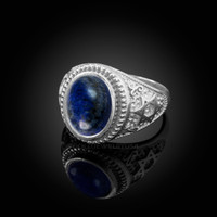 White Gold Star of David Lapis Lazuli Gemstone Jewish Statement Ring