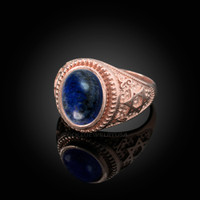 Rose Gold Star of David Lapis Lazuli Gemstone Jewish Statement Ring